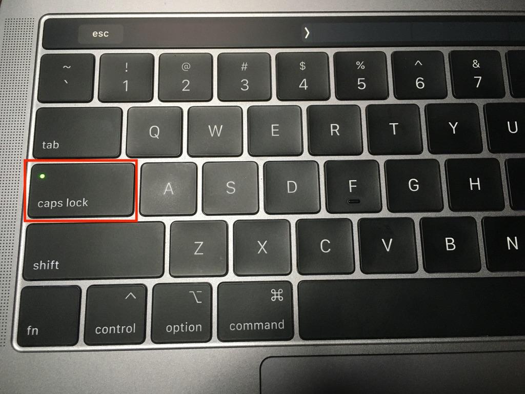 caps lockがオンの状態